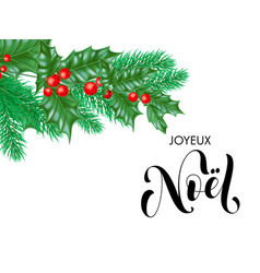 Noel french merry christmas hand drawn quote vector