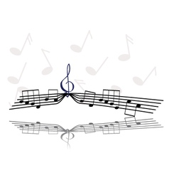 Notes and treble clef vector image