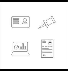 Office simple linear icon setsimple outline icons vector