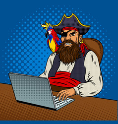 Pirate with laptop pop art vector