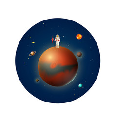 planets in solar system and astronaut spaceman vector image