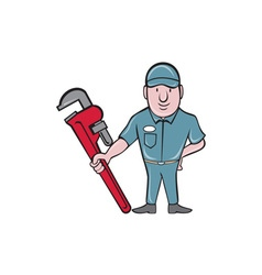 Plumber standing attention wrench cartoon vector