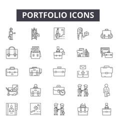 portfolio line icons signs set outline vector image