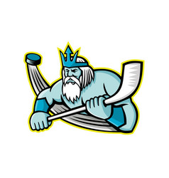 poseidon ice hockey sports mascot vector image