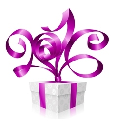 purple ribbon and gift box 2016 vector image