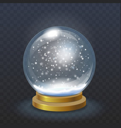 Realistic christmas snow globe isolated vector image