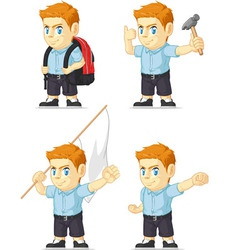 Red Head Boy Customizable Mascot 7 vector image