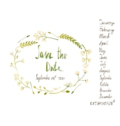 Rustic Wreath Save the Date Invitation Card with vector image