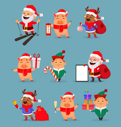 santa claus piggy santa helper elf and deer vector image