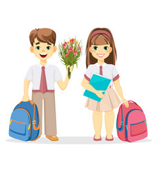 schoolboy and schoolgirl with backpack vector image vector image