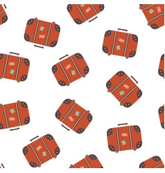 seamless pattern with brown suitcase vector image