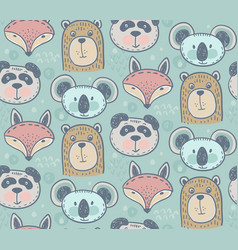seamless pattern with cute animals hand vector image