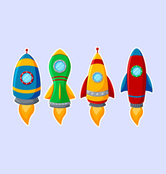 set of colorful rocket isolated on white backgroun vector image