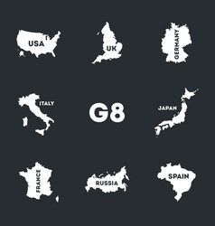 set of g8 icons vector image