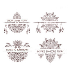 set of hand drawn boho style design with mandala vector image