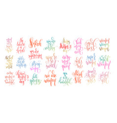 set of hand lettering inscription text to spring vector image