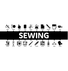 Sewing and needlework minimal infographic banner vector