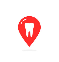 simple red icon of dental clinic isolated on white vector image