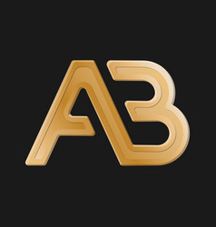 Stylized lowercase letters a and b connected vector