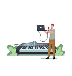 Tiny male character sing with microphone vector
