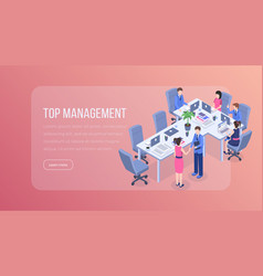 top management isometric landing page high vector image