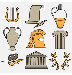 Travel greek culture landmarks and cultural vector