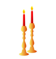 Two candles in candlesticks vector