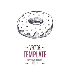 vintage Donut drawing Hand drawn vector image