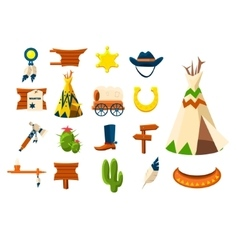 wild west icons cowboy vector image