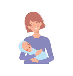 Woman with a newborn bain her arms vector