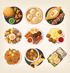 world dinners from top vector image