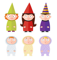 children with halloween costumes - witch mummy vector image