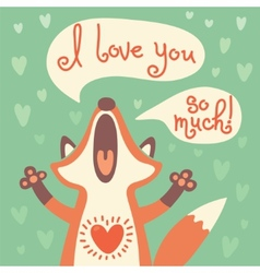 Cute fox confesses his love vector image vector image