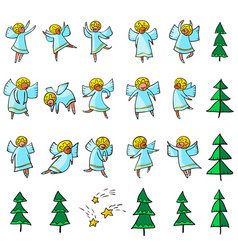 Cute icons set with angels dansing and flying vector