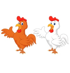 Cute rooster cartoon presenting vector image