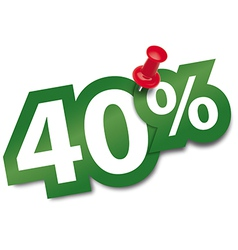 Forty percent sticker vector image vector image