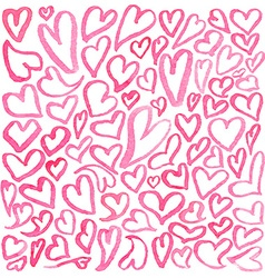 Watercolor square pattern of hearts vector image vector image