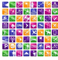 64 multicolored hotel icons vector image vector image