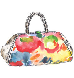 colored handbag watercolor vector image