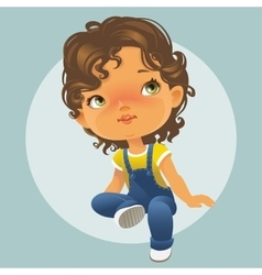 Cute little girl looking up vector image