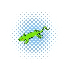 Green gecko lizard icon comics style vector image vector image
