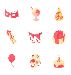 holiday birthday icons set cartoon style vector image vector image