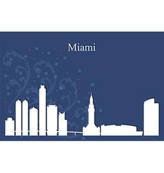 Miami city skyline on blue background vector image