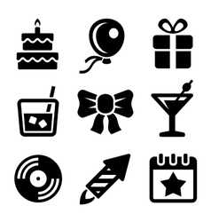 Party and Birthday Icons Set vector image