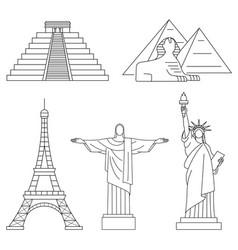 world landmarks eiffel tower statue of liberty vector image