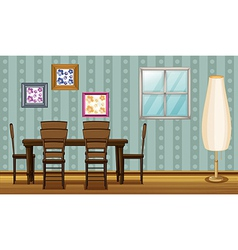 A dinning table and a lamp vector image