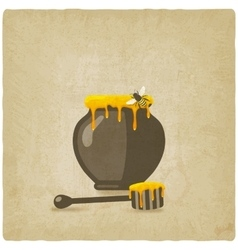 honey pot with bee and wooden dipper on old vector image vector image