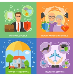 Insurance Services 4 Flat Icons Square vector image