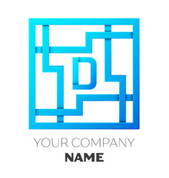 Realistic letter d logo in colorful square maze vector