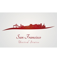 San Francisco skyline in red vector image vector image